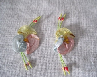Vintage Pair  Silk Ribbon Art Work Lingerie Flowers Floral Applique