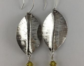 Leaf Earrings, Lime Swarovski
