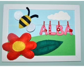 Cuadro personalizado nombre bebe ABEJA / Custom frame baby name BEE