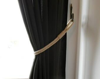 Cotton Rope Curtain Tie-backs - Holdback Curtain TieBack - Nautical Decor