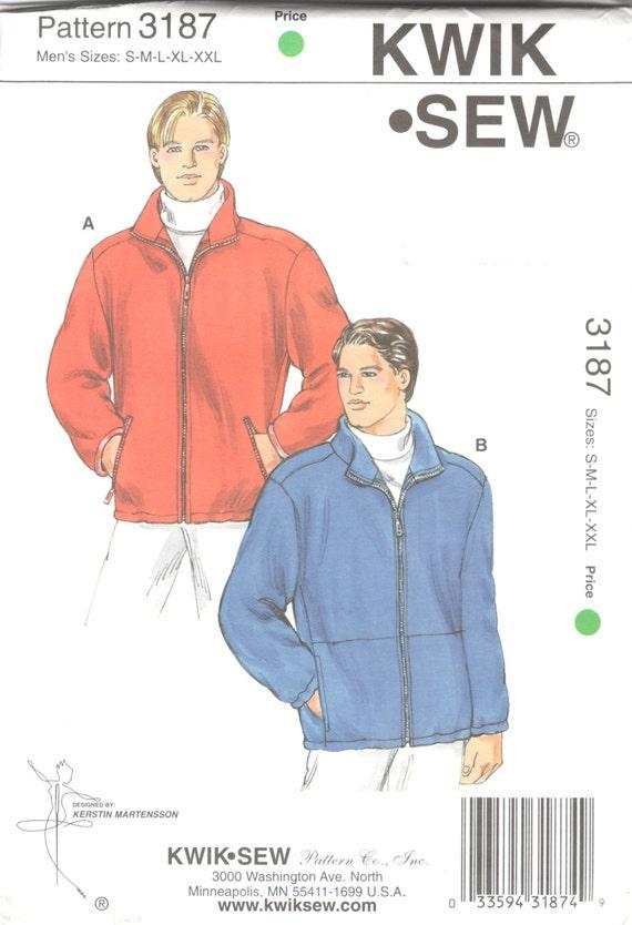 Kwik Sew 3187 Mens Zip Front Fleece Jacket Pattern Stand Up