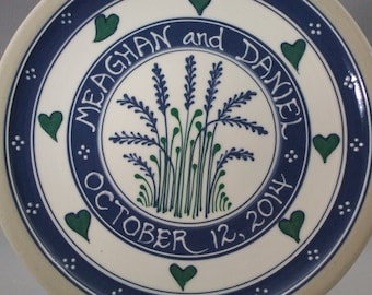 """Personalized 11""""  Blue Wheat with Green Accents  and Green Hearts Wedding Plate - Stoneware Pottery"""