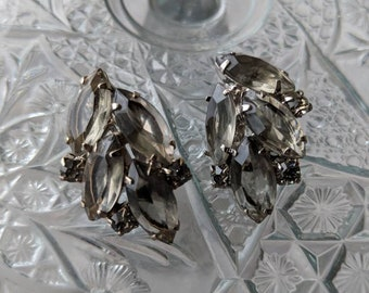 Smokey Grey Vintage Rhinestone Earrings
