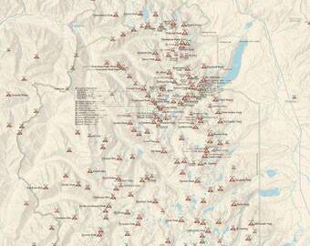Idaho mountain range high points map 18x24 poster sawtooth range idaho climbers map 18x24 poster gumiabroncs Choice Image
