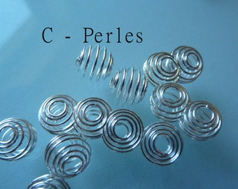 Set of 10 spiral Cages to 9 mm silver beads