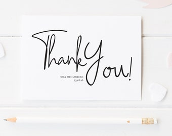Modern Script Thank You Card, Modern Thank You Card, Elegant Thank You Note, Wedding Thank You Card, Chancery Lane Collection