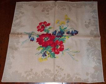 Vintage Napkins - Red Flowers -Set of 6 - Table Linens - Kitchen Decor