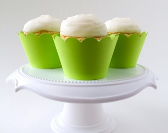 Set of 12 –Lime Green Cupcake Wrappers – Standard Sized - Ready To Ship