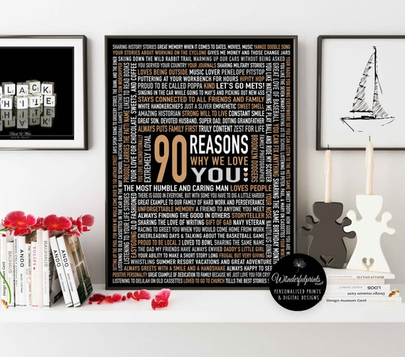 Custom 90th Birthday Gift for DAD For HIM 90 Reasons Why