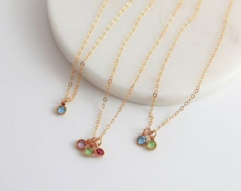 Birthstone Necklace • Mom Jewelry • Children's Birthstone • Flower Girl Necklace • Dainty Baby Birthstone Charm  • Girlfriend Gift for Her