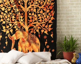 Elephant Under Tree Boho Hippie Indian Handmade Mandala Tapestry Twin Size Wall Hanging Multi Purpose