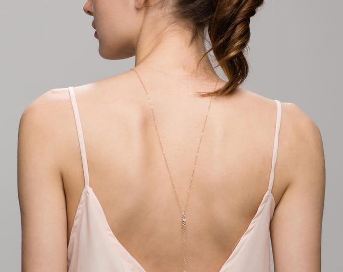 CZ Back Necklace with a CZ Drop// Bridal Jewelry for Low back Dress, Back necklace, Back chain Y Lariat Necklace Jewelry  EL022