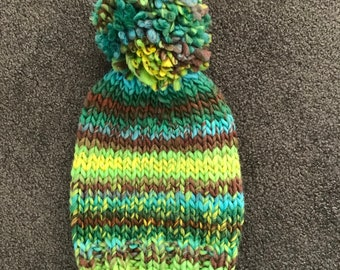 Hand knitted chunky wool slouch beanie