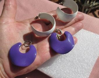 Retro White Metal Hoop Pierced Earrings Plus Purple Plastic Clip On Earrings TLC