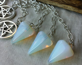 Opalite Pendulum with Pentacle Fob, Witchcraft Supply, Witchcraft Crystals, Divination Tool, Pendulums, Witchcraft, Wicca, Witch, Divination