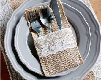Burlap Silverware Holder, Burlap Flatware Holder 12