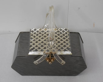 1950's Vintage Marbled Gray Lucite  Box Purse with Clear Carved Lid