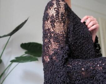 Knit kimono cardigan, hand-knitted boho cardigan, women's knitwear, handmade to order, transparency knitwear