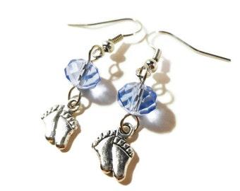 Silver Feet Charm Earrings, Baby Foot Earrings, Periwinkle Blue Crystal Bead Earrings, Beaded Dangle Earrings, Beadwork Earrings, Gift Idea