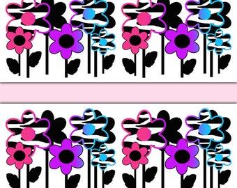 RAINBOW ZEBRA PRINT Floral Wallpaper Border Wall Art Decal Teen Girl Bedroom  Stickers Decor Abstract Hippie