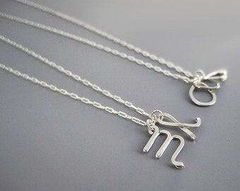 Two Initial Necklace - personalized lowercase double cursive letter with delicate silver plated chain, gift for mom of twins or grandma