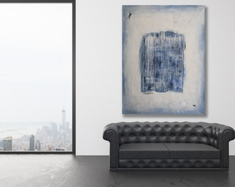 XL Textured Blue, Grey and White Abstract Painting / Texture Painting / Modern Art / Contemporary Art / Blue and White Art / XL Abstract Art