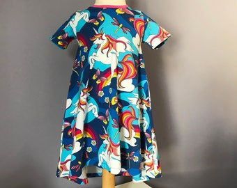 T-Shirt Dress Organic Cotton Jersey Unicorn Rainbow | 3-4y (104cm)
