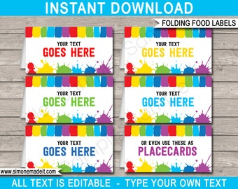 Art Party Food Labels - Art Theme Party - Buffet Tags - Tent Cards - Printable Party Decorations - INSTANT DOWNLOAD with EDITABLE text