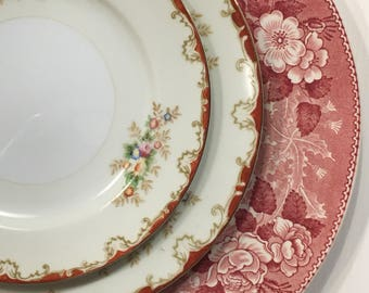 Vintage Mismatched Plates Setting Dinner Plates