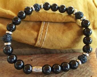Black Agate, Lava Rock and Silver Bracelet