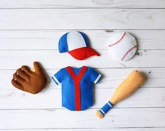 Baseball baby felt ornaments toy Plush toy Soft toy Stuffed toy Nursery toy Decor baby room Banner Sport toy  Baseball decorations