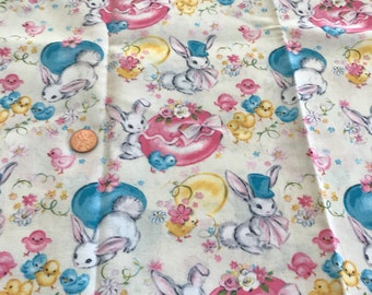 Retro Style Bunnies & Chicks Fabric