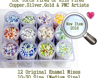 Enamel Supplies, Enamel Frit Kit, Mixes by Joe Spencer Large Sample Set all 12 colors you pick size of frit