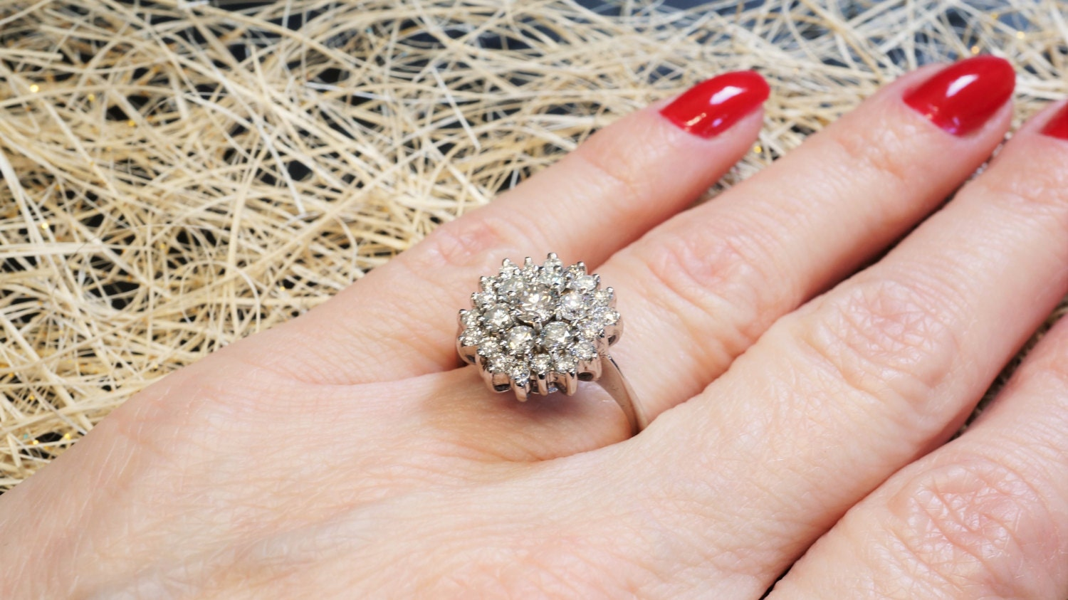 Vintage engagement ring diamond, Solitaire 14K White Gold Ring, 1.20 ...
