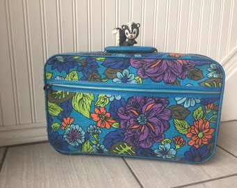 Vintage Suitcase, Floral Suitcase, Purple Blue Floral Suitcase, Orange Green Floral Suitcase, Bantam, Fabric Suitcase, Vintage Luggage