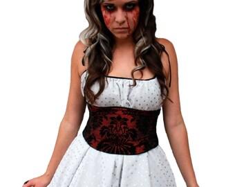 Flocked Velvet Corset / Red and Black Waist Cincher / Queen of Hearts / Offbeat Wedding / Wedding Corset / Plus Size Corset Belt / Costume