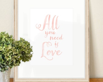 All You Need is Love - SMc. Originals, watercolor painting, rustic, modern, original artwork, calligraphy, quote, art print, home decor