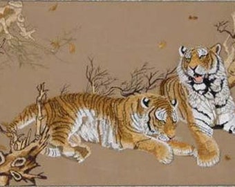 embroidery tigers-chinese silk embroidery,chinese art,silk wall hanging,home decor