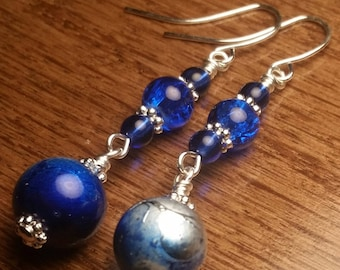 Royal Blue with Blue Marble Swirl Silver Wire Drop Dangle handmade earrings