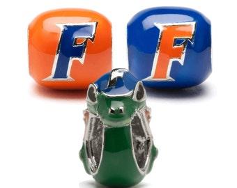 Florida Gators Orange and Blue Double-Sided Block Bead Charm Set of Three - Stainless steel - Fits Pandora