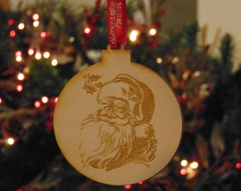 laser cut and engraved santa christmas tree bauble birch wood