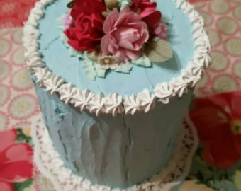 Fake cake,Aqua blue,Roses,Victorian, Shabby cottage,chic, Photo Dessert Prop,Sweet shop, bakery,pink kitchen,faux,unique,