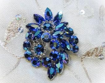 Vintage Jewelry - Rhinestone Brooch Pin - Blue AB Finished Rhinestones