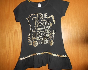 True  Beauty Black and Gold T Shirt