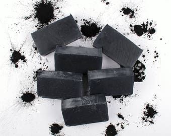 4 Pack - Dead Sea Mud Soap -  Cold Process Soap, Dead Sea Mud, Activated Charcoal, Essential Oil, Bamboo Charcoal,  Acne, All Natural Soap