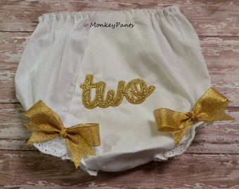 Gold Two Diaper Cover - Baby Girl Diaper Cover - Embroidered Baby Bloomers -  Gold Birthday Party- Photo Prop