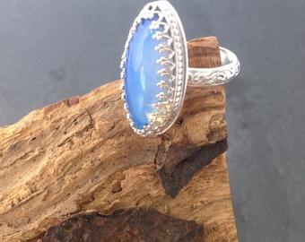 sterling silver handmade opalite marquise ring, hallmarked in Edinburgh