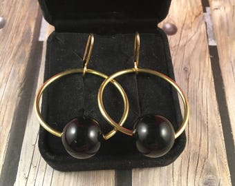 Gold Hoop Earrings with Vintage Black Round Beads on 14kt Gold Ear Wires 1.75 Inches Long 1 Inch Long
