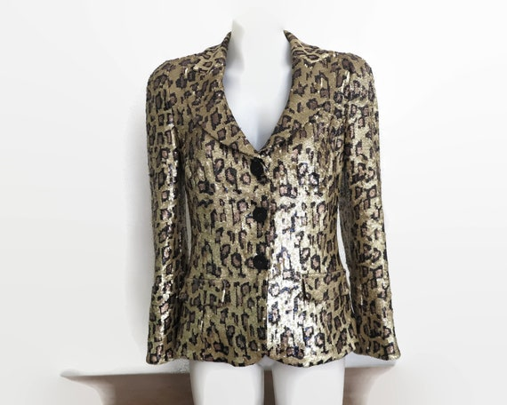 Vintage sequin jacket in leopard skin pattern, all over sequins, fully lined, Harry Who, Australia, 1990s, small, brand new without tags