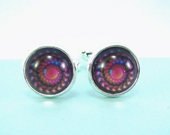 NEON SPIRAL Silver Cuff Links --  Geometric fantasy cuff links in a spiral of neon shades